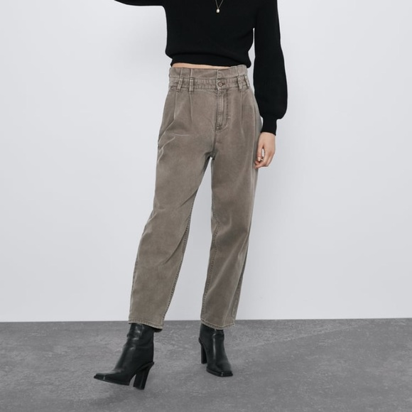 Zara Pants - Zara Baggy Paper Waist Pants 2 Khaki